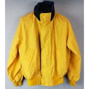 Nautica Mens Jacket Yellow Nylon Wind Hooded M